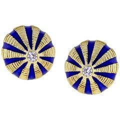 Tiffany & Co. Schlumberger Gold and Blue Enamel Large Taj Mahal Earrings