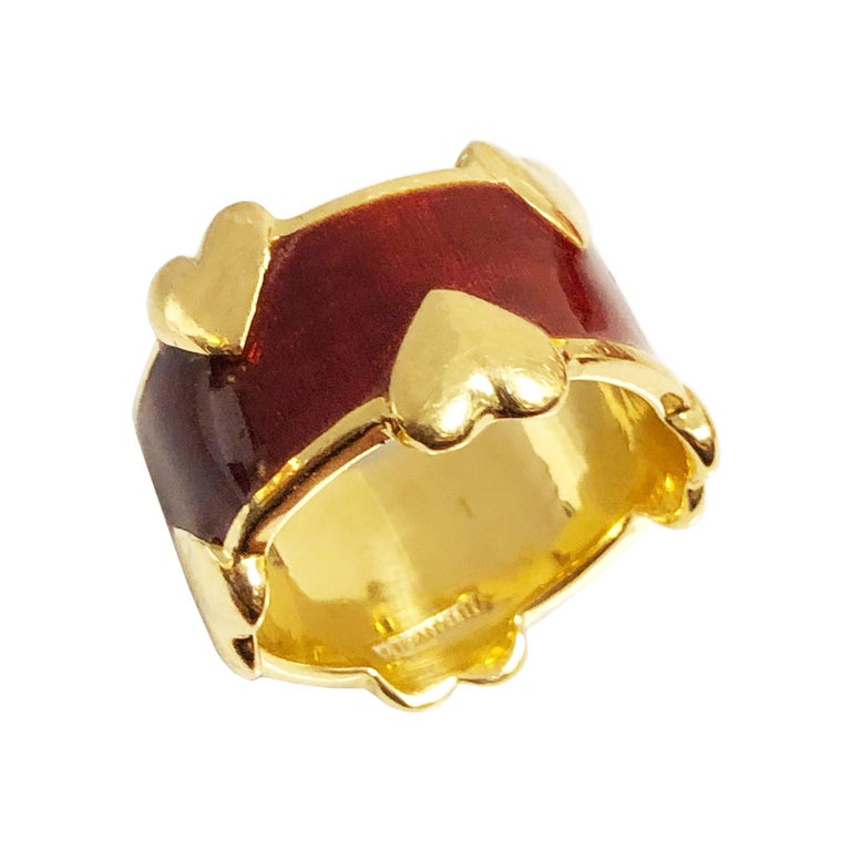 Tiffany & Co. Schlumberger Gold and Enamel Hearts Band Ring For Sale