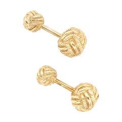Tiffany & Co. Schlumberger Gold Woven Knot Cufflinks