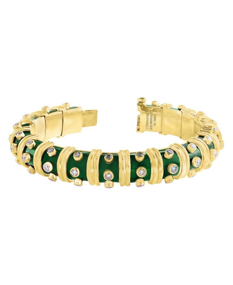 Round Cut Tiffany & Co. Schlumberger Green Enamel and Bezel Set Diamond Bangle, Narrow