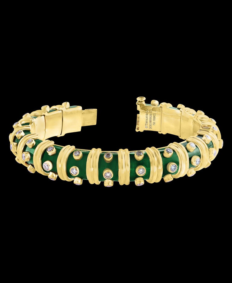 Tiffany & Co. Schlumberger Green Enamel and Bezel Set Diamond Bangle, Narrow In Excellent Condition In Scarsdale, NY