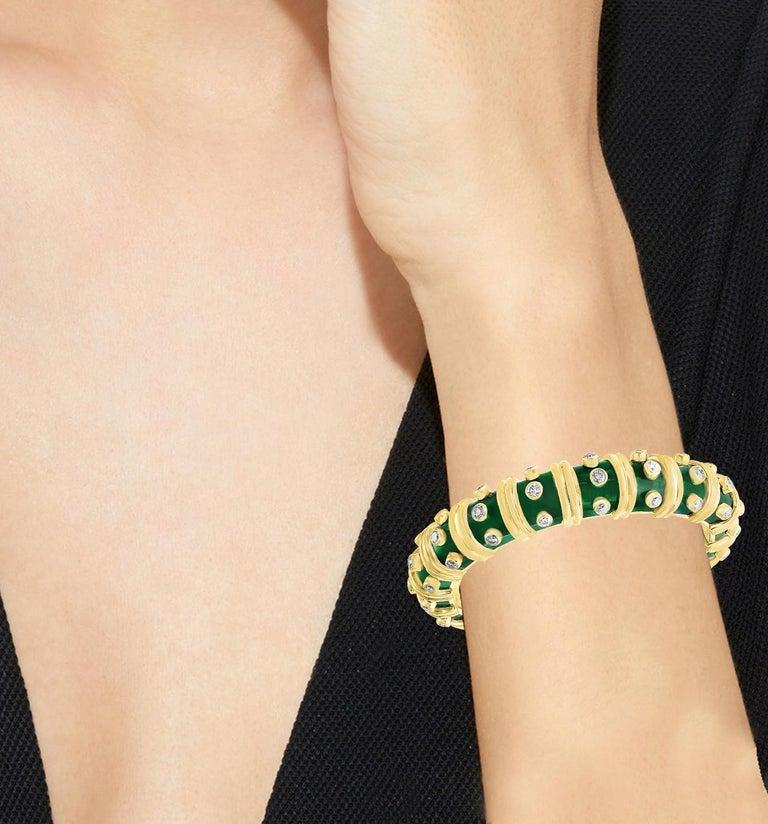 Women's Tiffany & Co. Schlumberger Green Enamel and Bezel Set Diamond Bangle, Narrow