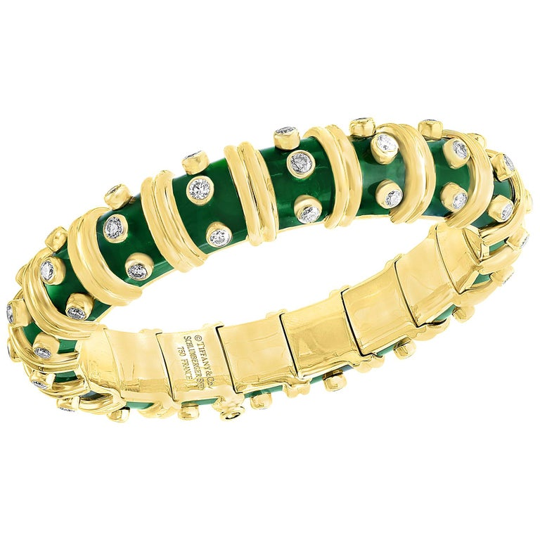 Tiffany & Co. Schlumberger Green Enamel and Bezel Set Diamond Bangle, Narrow