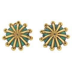 Tiffany & Co. Schlumberger Green Enamel Gold Earrings