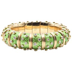 Tiffany & Co. Schlumberger Green Paillonne and Diamond Bangle Bracelet
