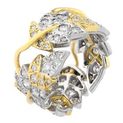 Tiffany & Co. Schlumberger Leaves Platinum 18 Karat Gold Band Ring