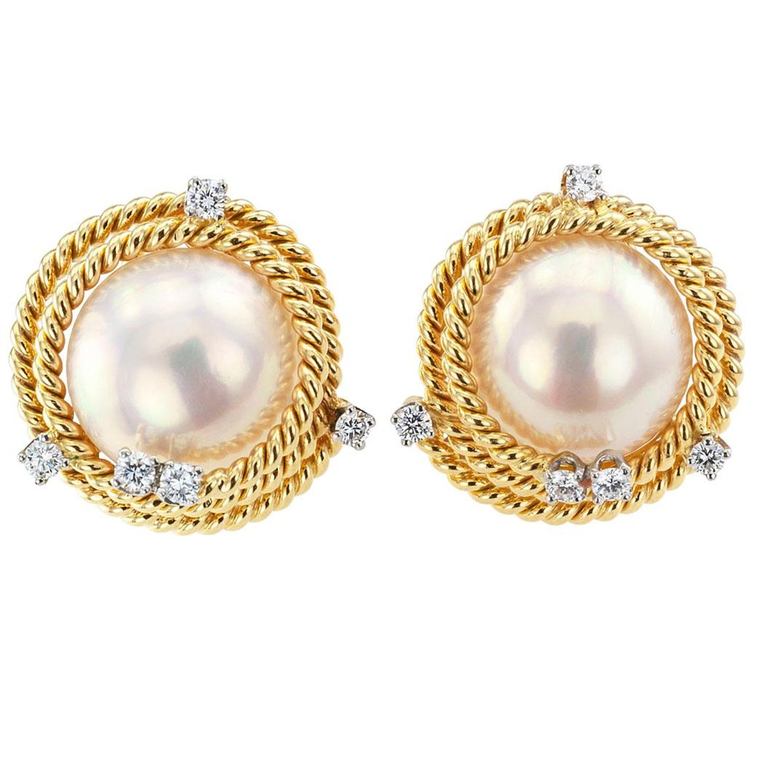 f69a951b1 Tiffany and Co. Schlumberger Mabe Pearl Diamond Ear Clips at 1stdibs