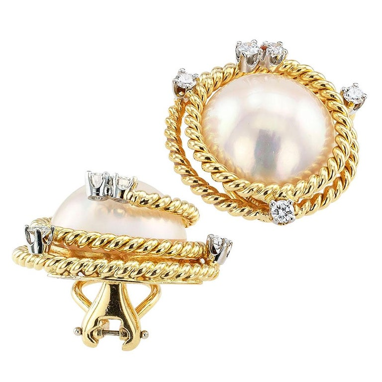 1e0d00267 Modern Tiffany & Co. Schlumberger Mabe Pearl Diamond Ear Clips For Sale