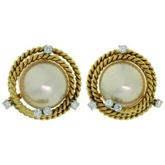 Tiffany & Co. Schlumberger Mabe Pearl Diamond Platinum Yellow Gold Earrings