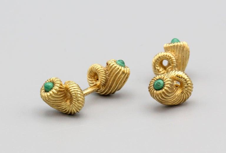 Cabochon Tiffany & Co. Schlumberger Malachite 18 Karat Gold Cornucopia Cufflinks For Sale