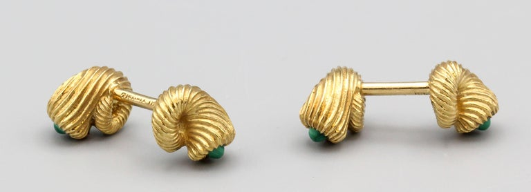 Tiffany & Co. Schlumberger Malachite 18 Karat Gold Cornucopia Cufflinks In Good Condition For Sale In New York, NY