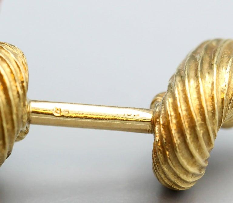 Tiffany & Co. Schlumberger Malachite 18 Karat Gold Cornucopia Cufflinks For Sale 2