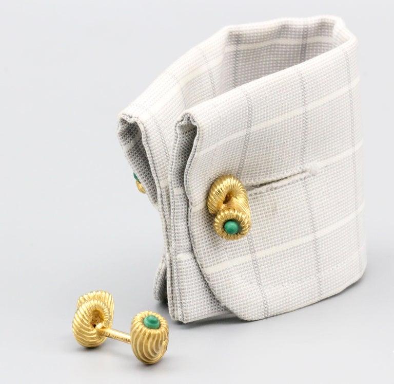 Tiffany & Co. Schlumberger Malachite 18 Karat Gold Cornucopia Cufflinks For Sale 3