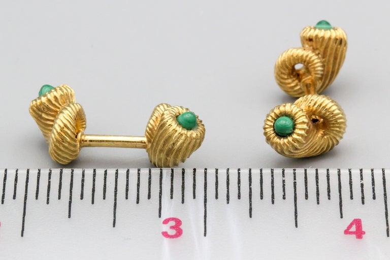 Tiffany & Co. Schlumberger Malachite 18 Karat Gold Cornucopia Cufflinks For Sale 4