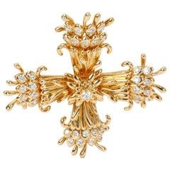 Tiffany & Co. Schlumberger Maltese Cross Pin-Dant in 18k Yellow Gold 1.25 Carat
