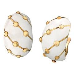 Tiffany & Co. Schlumberger Pair of Clip White Enamel Earrings 18 Karat Gold