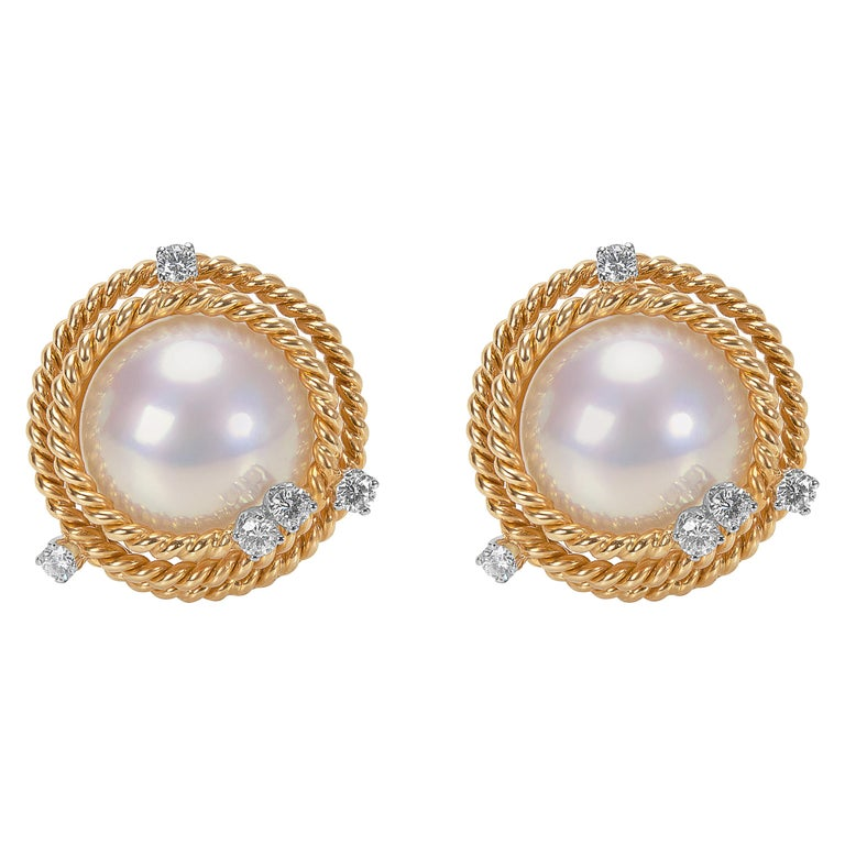 64a503ff8 Tiffany & Co. Schlumberger Pearl and Diamond Rope Clip-On Earrings For Sale
