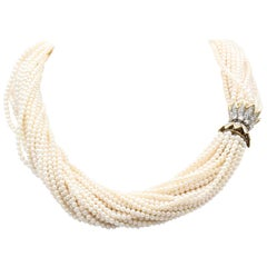 Tiffany & Co. Schlumberger Pearl Diamond and Gold Torsade Necklace