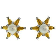 Tiffany & Co. Schlumberger Pearl Diamond Gold Earrings