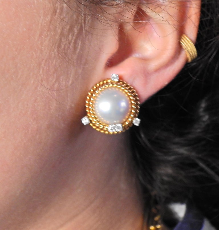 Tiffany & Co. Schlumberger Pearl Diamond Rope Gold Platinum Earrings In Excellent Condition For Sale In New York, NY