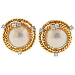 Tiffany & Co. Schlumberger Pearl Diamond Rope Gold Platinum Earrings