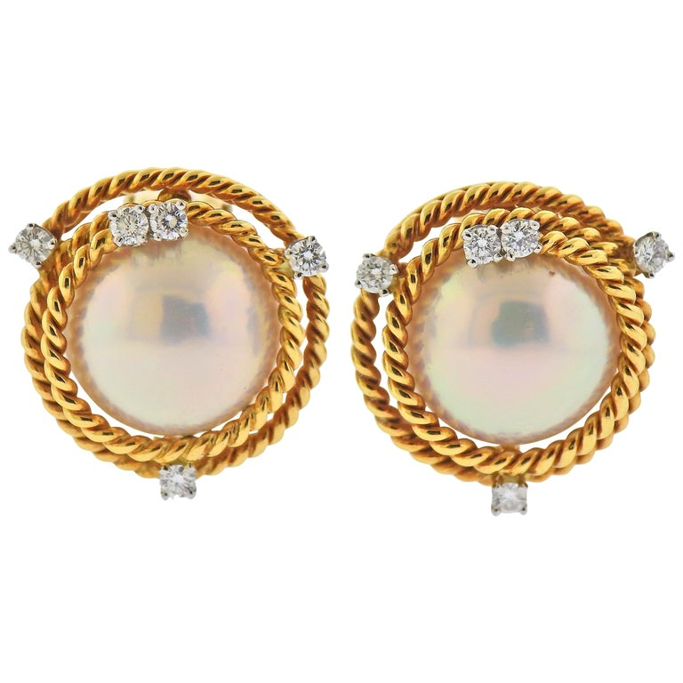 Tiffany & Co. Schlumberger Pearl Diamond Rope Gold Platinum Earrings For Sale