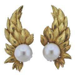 Tiffany & Co. Schlumberger Pearl Gold Wing Earrings