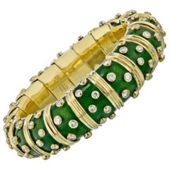 Tiffany & Co. Schlumberger Platinum 18 Karat Gold Green Enamel Diamond Bangle