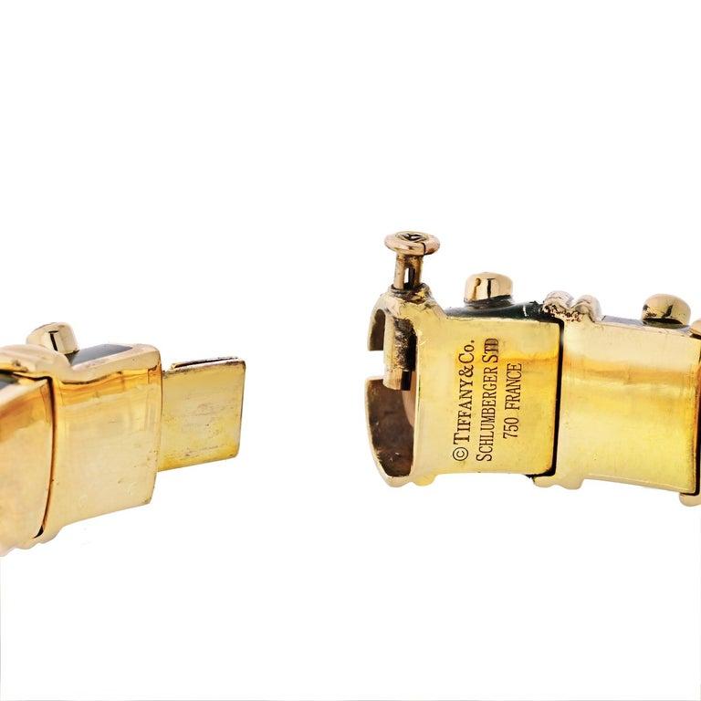 Modern Tiffany & Co. Schlumberger Platinum & 18K Yellow Gold Diamond Bangle Bracelet For Sale