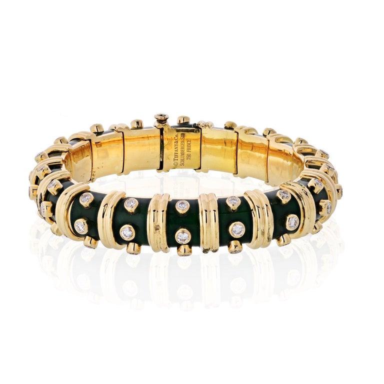 Brilliant Cut Tiffany & Co. Schlumberger Platinum & 18K Yellow Gold Diamond Bangle Bracelet For Sale