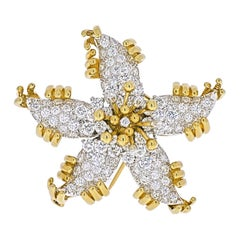 Tiffany & Co. Schlumberger Platinum & 18k Yellow Gold Starfish Diamond Brooch