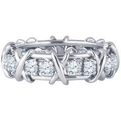 Tiffany & Co. Schlumberger Platinum Band with 16 Round Diamonds