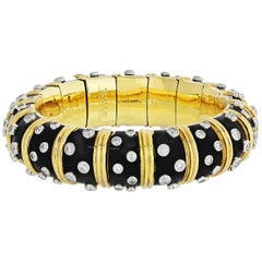 Tiffany & Co. Schlumberger Platinum, Yellow Gold Black Enamel Diamond Bracelet