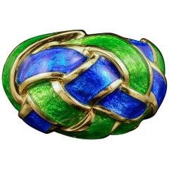 Tiffany & Co. Schlumberger Ring Blue Green Enamel