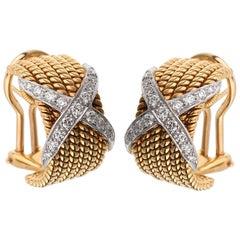Tiffany & Co Schlumberger Rope Six-Row Diamond Gold Earrings