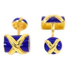 Tiffany & Co. Schlumberger Royal Blue Enamel Cufflink Set