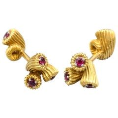 Tiffany & Co. Schlumberger Ruby and 18 Karat Gold Cornucopia Cufflinks