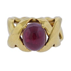 Tiffany & Co. Schlumberger Ruby Cabochon Gold Ring