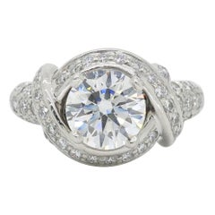 Tiffany & Co. Schlumberger Signature Diamond Platinum Engagement Ring