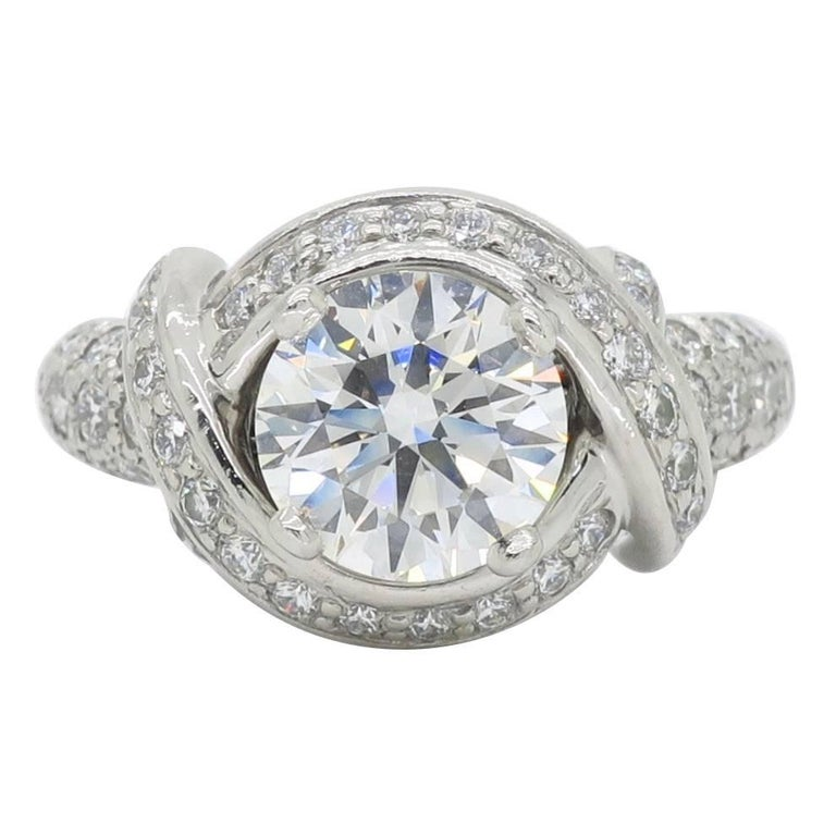 Tiffany & Co. Schlumberger Signature Diamond Platinum Engagement Ring For Sale