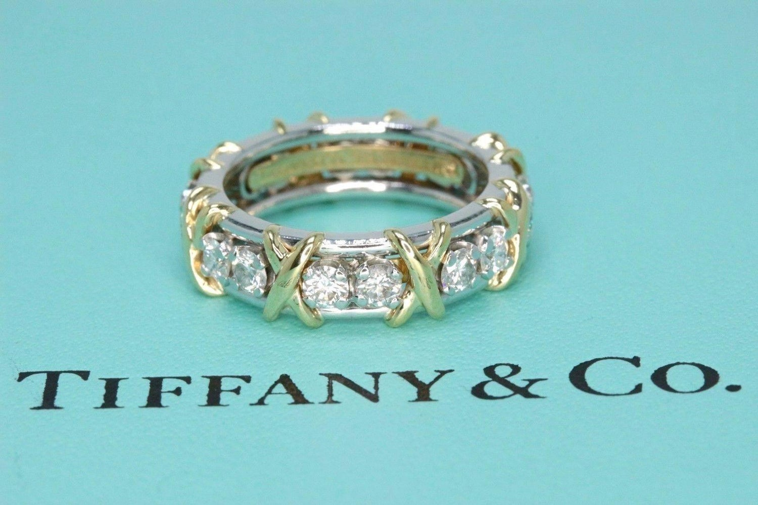 1d7dc47e8 Tiffany and Co. Schlumberger Sixteen Stone 1.14TCW Diamond Ring 18kt and  Platinum at 1stdibs