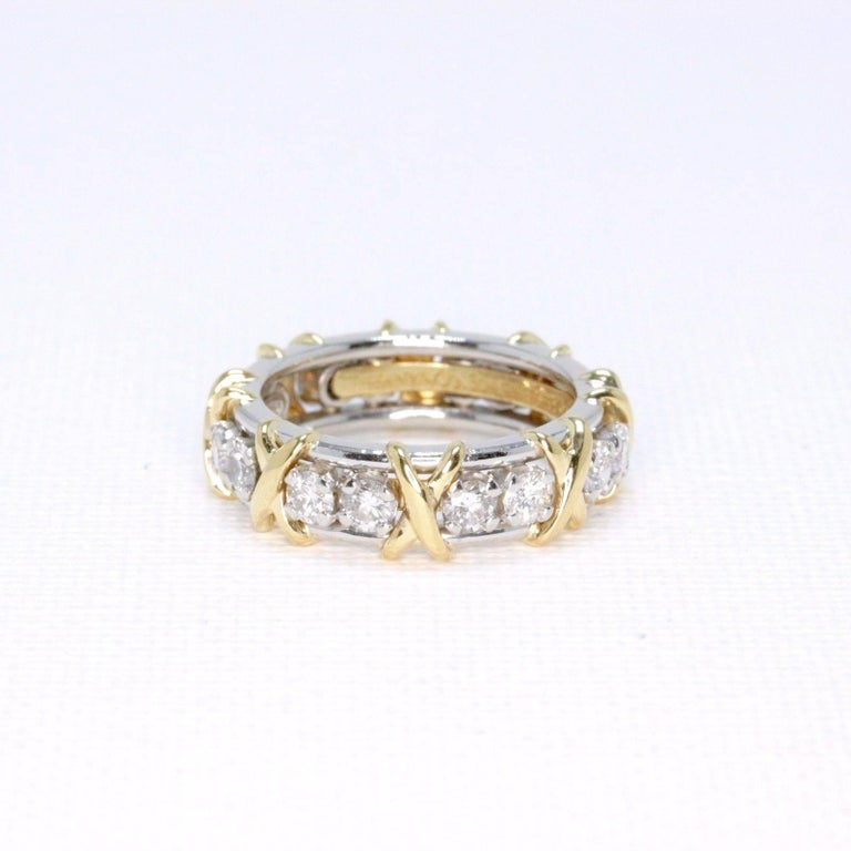 a004652bf Tiffany & Co. Schlumberger Sixteen Stone 1.14TCW Diamond Ring 18kt &  Platinum In Excellent