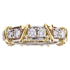 Tiffany & Co. Schlumberger Sixteen-Stone Diamond X Ring