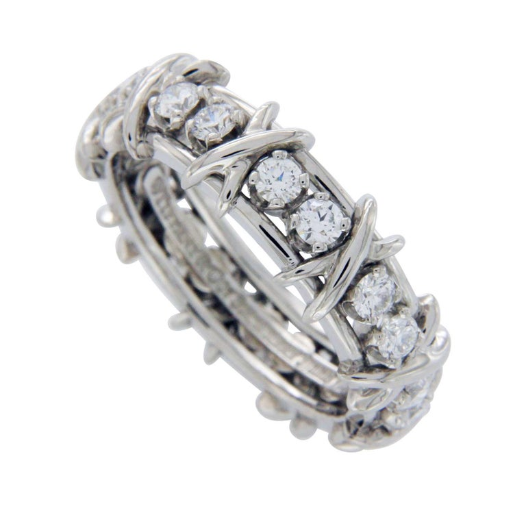 0e1155a67 Tiffany and Co. Schlumberger Studios 18 Diamonds Platinum Ring For ...