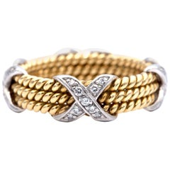 Tiffany & Co. Schlumberger Three Section Diamond and Rope Band