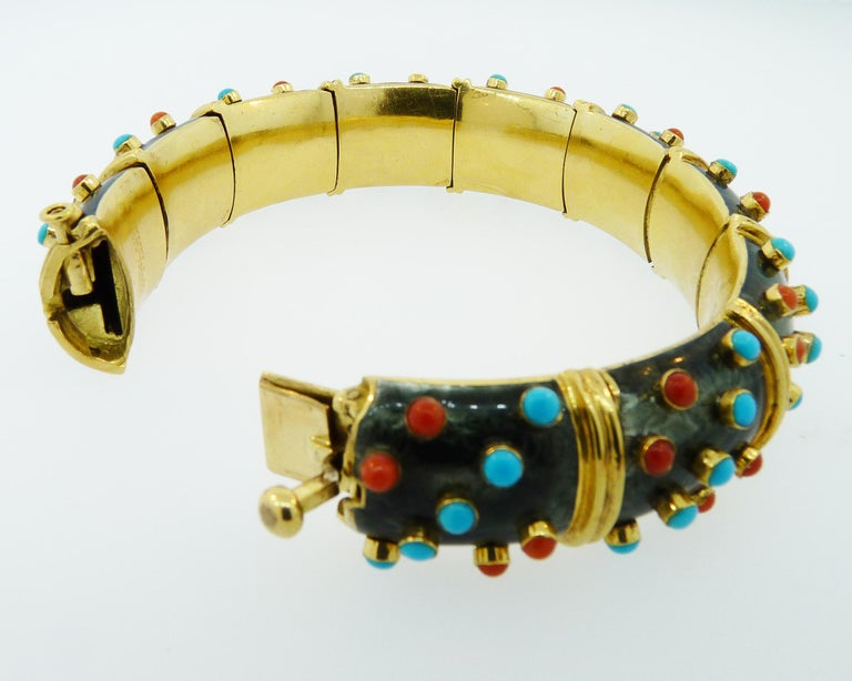 Tiffany & Co. Schlumberger Turquoise Coral Enamel Bracelet In Good Condition For Sale In New York, NY