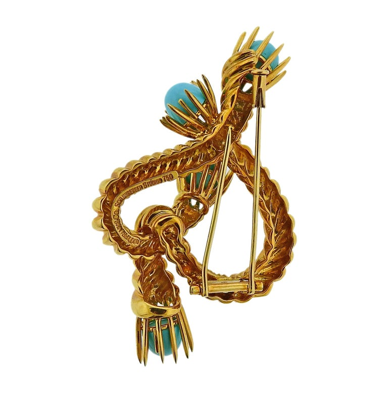 Tiffany & Co. Schlumberger Turquoise Gold Brooch Pin In Excellent Condition For Sale In Lahaska, PA