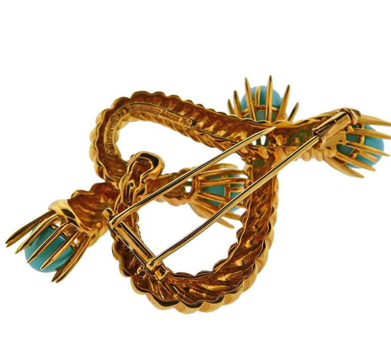 Women's or Men's Tiffany & Co. Schlumberger Turquoise Gold Brooch Pin For Sale