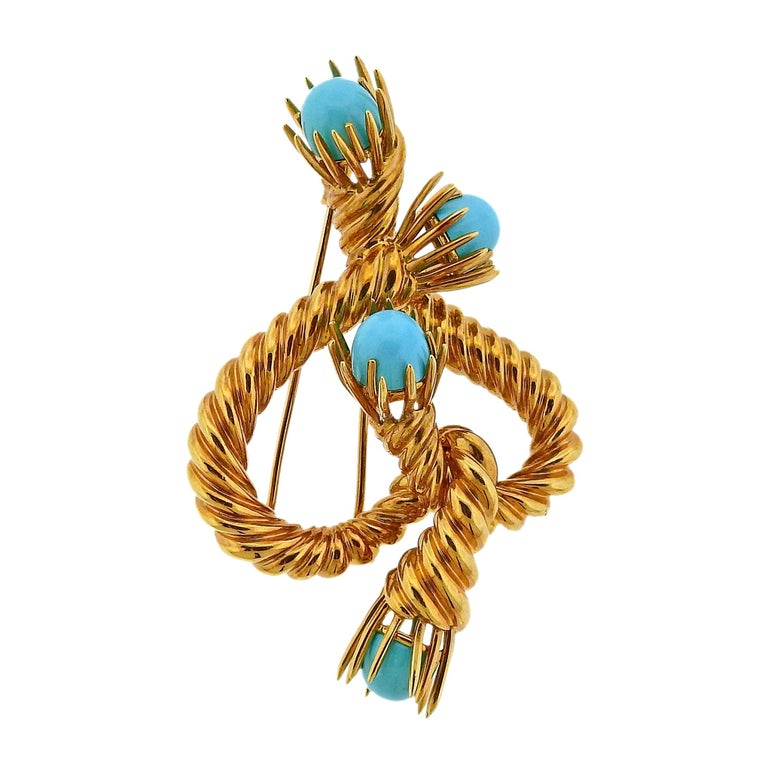 Tiffany & Co. Schlumberger Turquoise Gold Brooch Pin For Sale