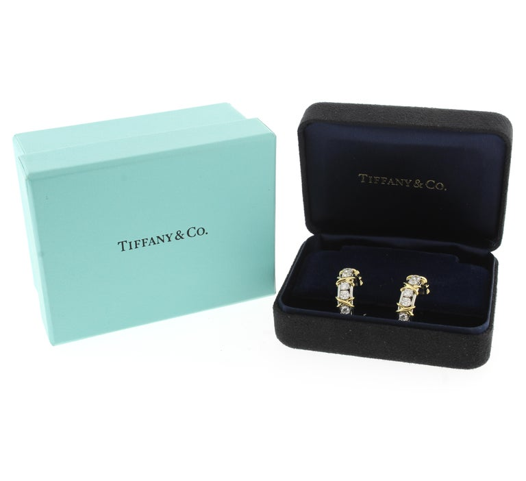 Tiffany & Co. Schlumberger Twenty Stone Hoop Earrings In Excellent Condition For Sale In Bethesda, MD